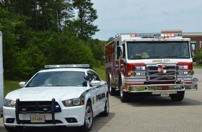 First responders police car fire engine