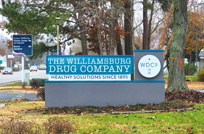 Williamsburg Drug Company - Jamestown Road sign